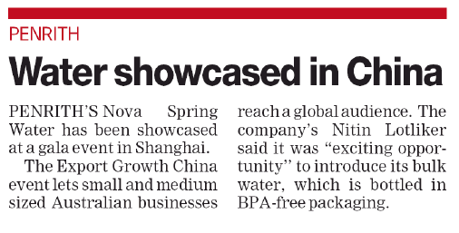 Nova Spring Water showcased in China